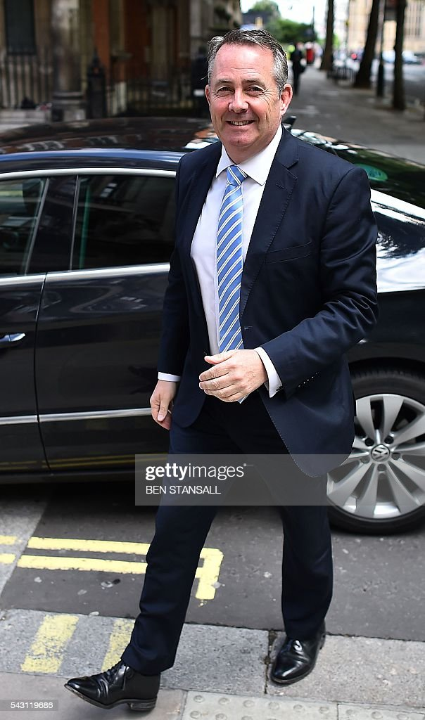 British Conservative MP and former Secretary of State for Defence, Liam Fox, arrives at Millbank television and radio studios in central London on June 26, 2016. The future of opposition Labour leader Jeremy Corbyn looked shaky on Sunday after two members of his top team quit and others seemed set to follow over his handling of Britain's EU referendum. Corbyn sacked his foreign affairs spokesman, Hilary Benn, late Saturday after Benn said he no longer had confidence in his leadership, while health spokeswoman Heidi Alexander announced her resignation on Twitter Sunday. / AFP / BEN