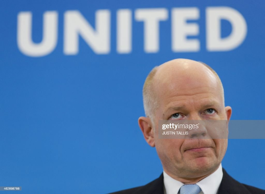 British Conservative MP and Leader of The House of Commons, <a gi-track='captionPersonalityLinkClicked' href=/galleries/search?phrase=William+Hague&family=editorial&specificpeople=206295 ng-click='$event.stopPropagation()'>William Hague</a>, makes a speech on 'English votes for English laws' in central London on February 3, 2015. AFP PHOTO / JUSTIN TALLIS