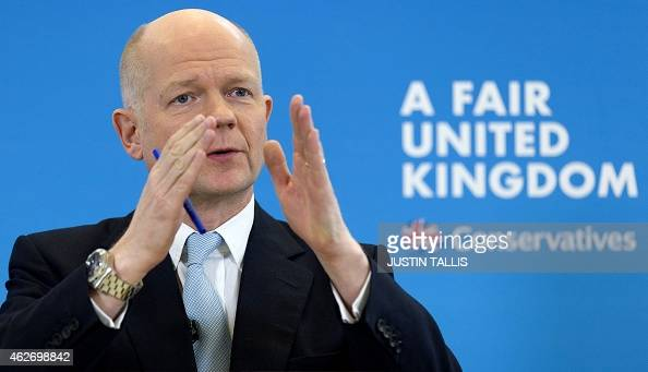 British Conservative MP and Leader of The House of Commons William Hague makes a speech on 'English votes for English laws' in central London on...