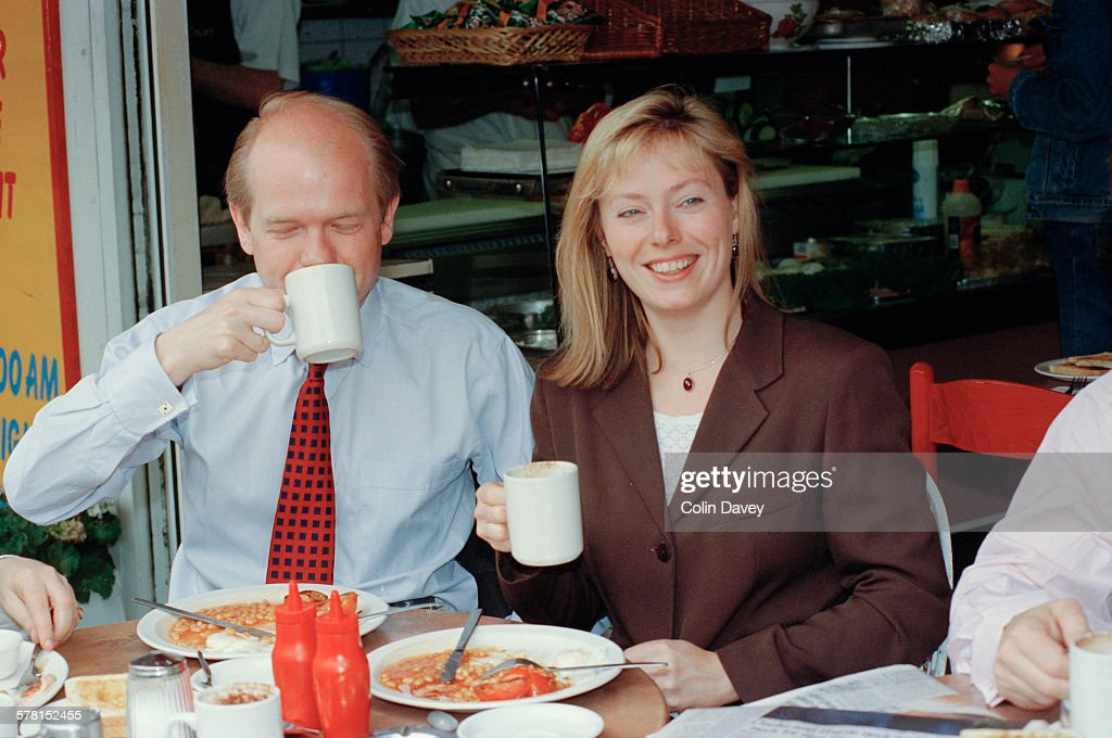 British Conservative MP <a gi-track='captionPersonalityLinkClicked' href=/galleries/search?phrase=William+Hague&family=editorial&specificpeople=206295 ng-click='$event.stopPropagation()'>William Hague</a> having breakfast in Chelsea, London, UK, with his fiancee Ffion Jenkins, on the day the vote was taken for the next party leader, 10th June 1997. Hague was elected leader, beating such candidates as Kenneth Clarke and Michael Howard.