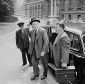 British Conservative Party Foreign Secretary Selwyn Lloyd arrives at 10 Downing Street for a meeting with Harold Macmillan and John Foster Dulles...