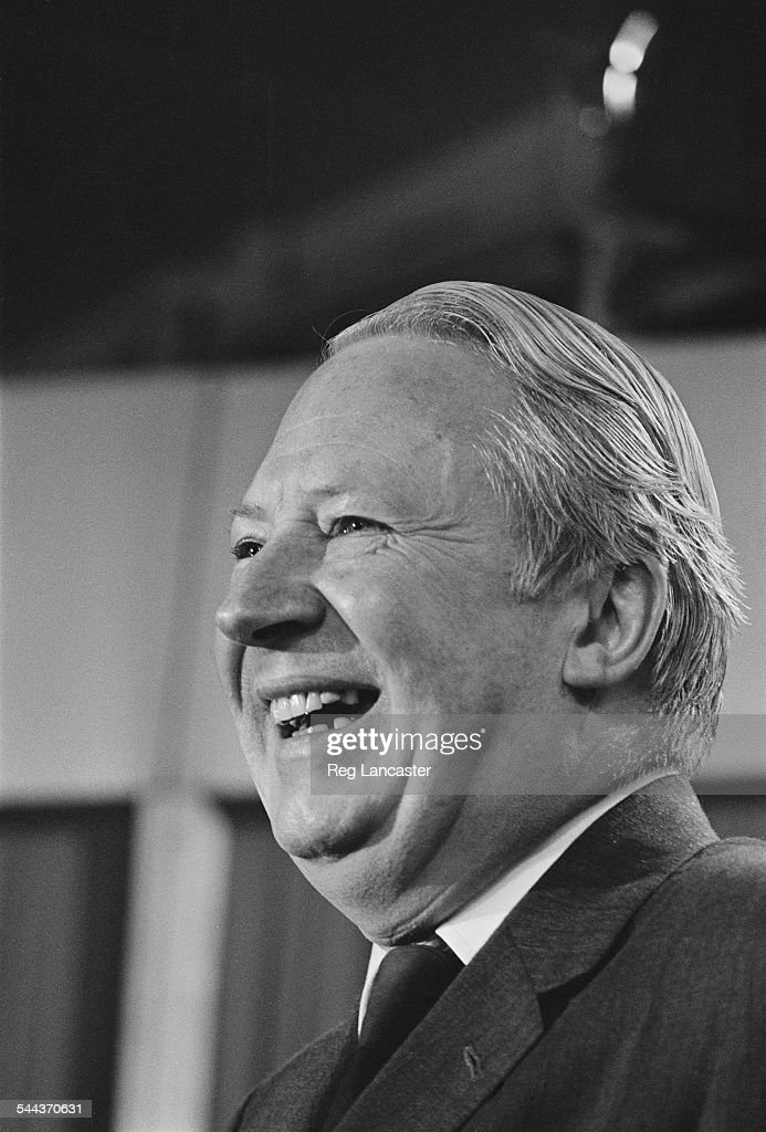 British Conservative Party leader Edward Heath at a meeting during the UK general election campaign 26th February 1974