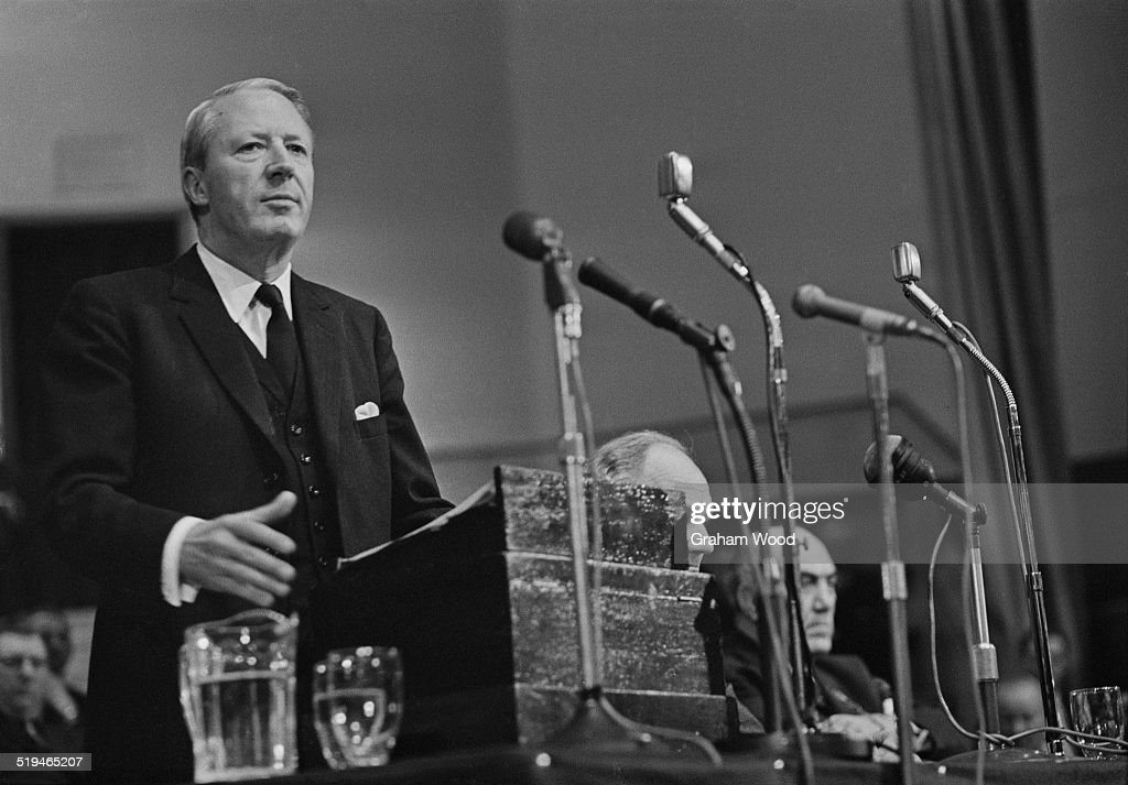 British Conservative party leader Edward Heath at a party rally 28th January 1967