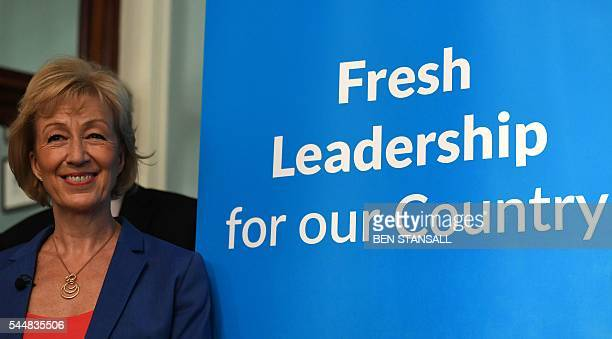 British Conservative Party leadership candidate Andrea Leadsom smiles before delivering a speech to launch her bid to become the Conservative party...