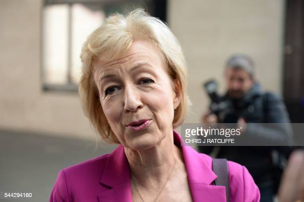 British Conservative party leadership candidate Andrea Leadsom speaks to members of the media as she arrives at the BBC television centre in London...