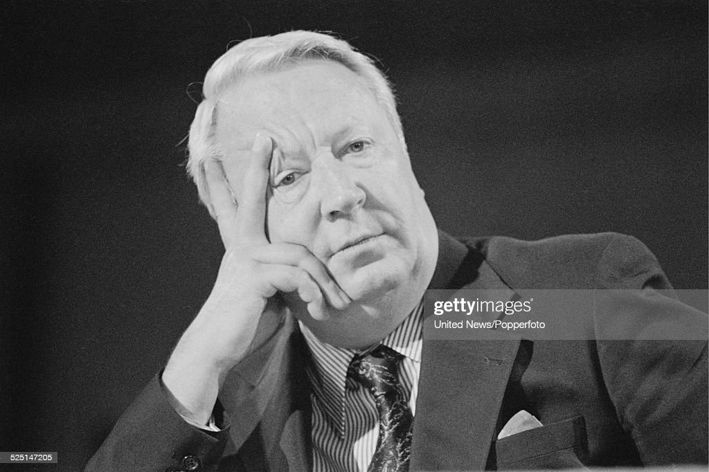 British Conservative Party politician and ex Prime Minister of the United Kingdom Edward Heath pictured at the Conservative Party Conference in...