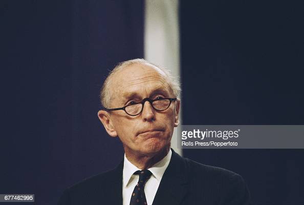 British Conservative Party politician and Foreign Secretary Alec DouglasHome pictured listening to proceedings from the platform at the Conservative...