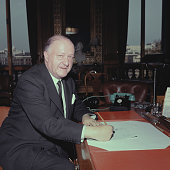 British Conservative Party politician and Foreign Secretary Rab Butler pictured sitting at a desk in the Foreign Office in London in October 1963