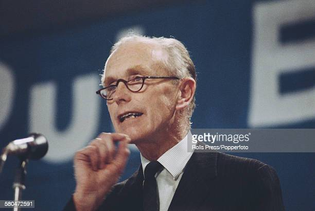 British Conservative Party politician and former Prime Minister of the United Kingdom Alec DouglasHome speaks from the platform at the Tory Party...