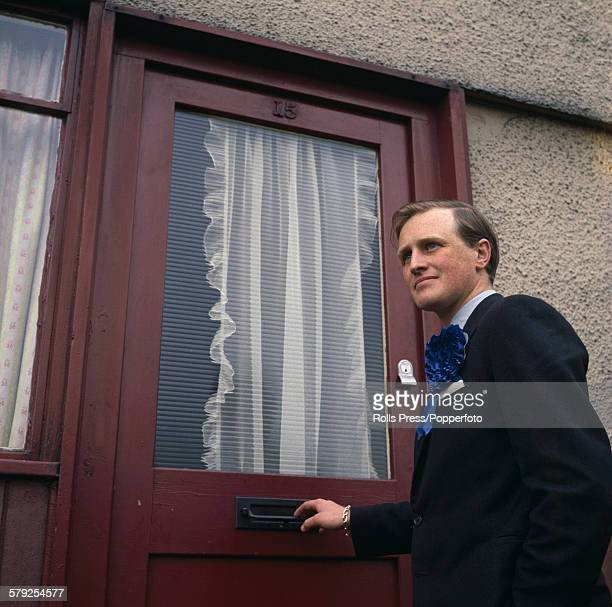 British Conservative Party politician and grandson of his namesake Winston Churchill pictured knocking on the door of a constituent during a...