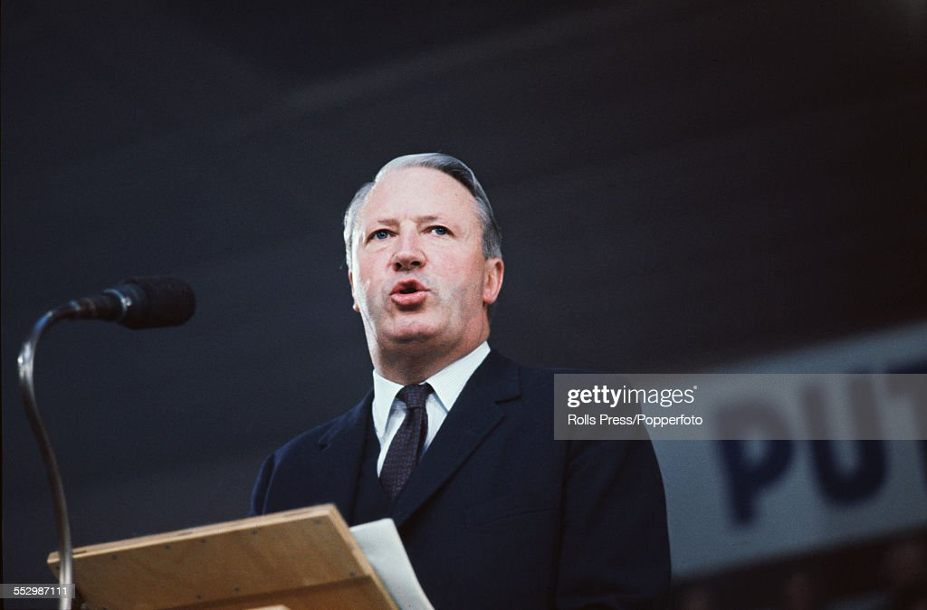 British Conservative Party politician and Leader of the Conservative Party Edward Heath pictured speaking from the podium at the Tory Party annual...