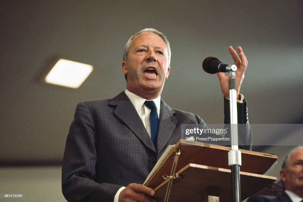 British Conservative Party politician and Leader of the Conservative Party Edward Heath delivers a speech from the platform at the Tory Party annual...