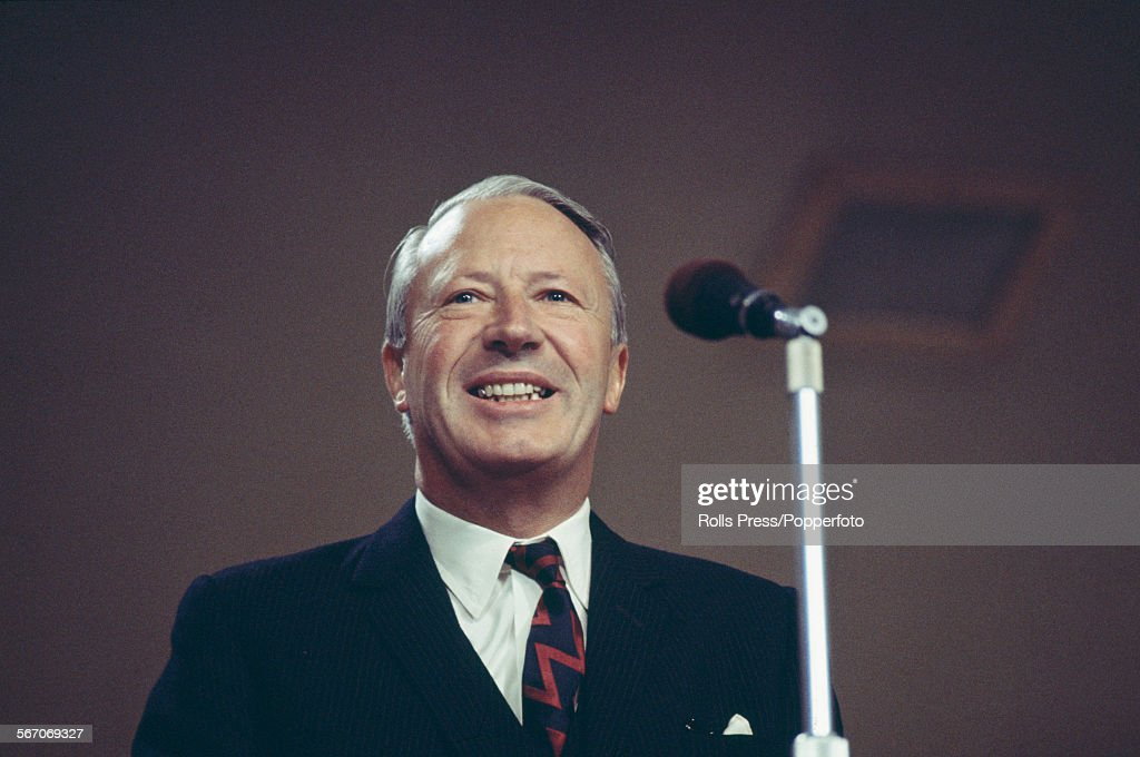 British Conservative Party politician and leader of the Conservative Party Edward Heath pictured delivering a speech at the Tory Party annual...