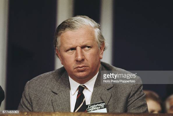 British Conservative Party politician and Minister of Agriculture Fisheries and Food Jim Prior pictured listening to proceedings from the platform at...