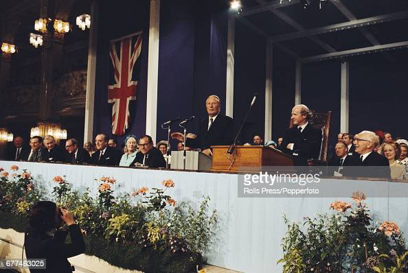 British Conservative Party politician and Prime Minister of the United Kingdom Edward Heath delivers his keynote speech from the platform at the...