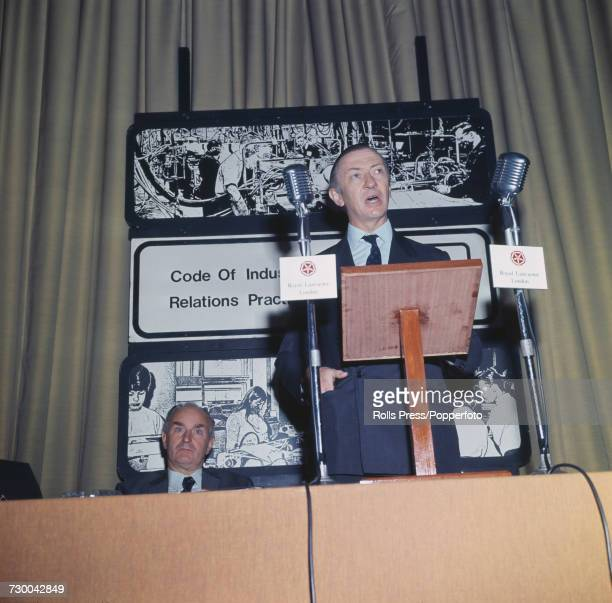 British Conservative Party politician and Secretary of State for Employment Robert Carr makes a speech at an Industrial Relations meeting at the...