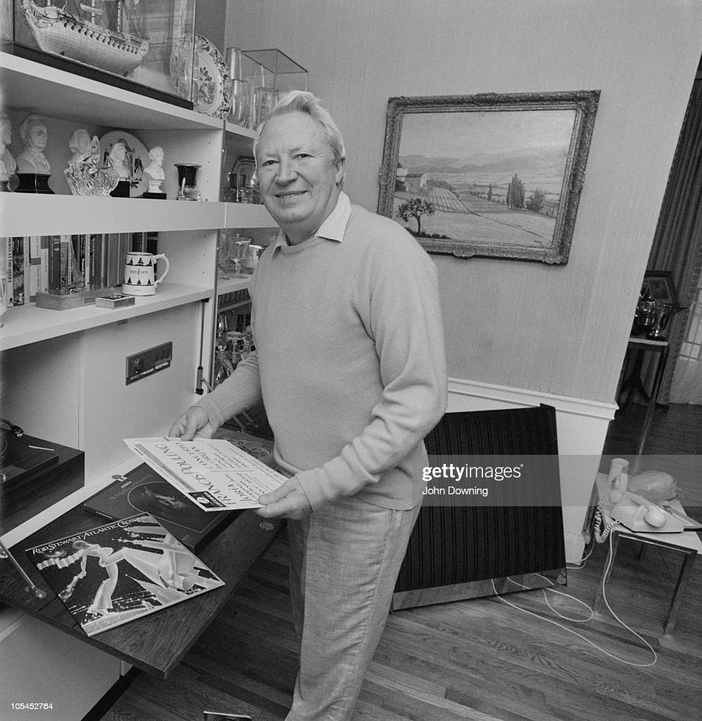 British Conservative politician Edward Heath at home 14th January 1977 Amidst his record collection are works by Rod Stewart and Francis Poulenc