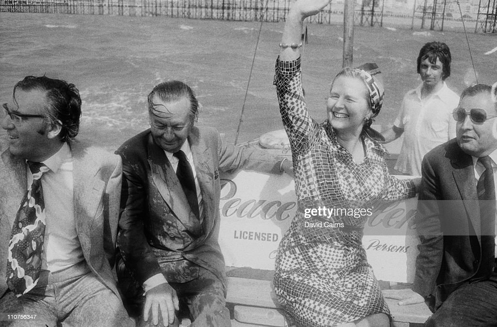 British Conservative politician <a gi-track='captionPersonalityLinkClicked' href=/galleries/search?phrase=Margaret+Thatcher&family=editorial&specificpeople=159677 ng-click='$event.stopPropagation()'>Margaret Thatcher</a> in a small boat in Brighton, circa 1975.