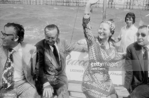 British Conservative politician Margaret Thatcher in a small boat in Brighton circa 1975