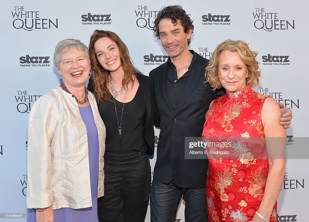 British Consul-General in Los Angeles Barbara Hay, actress Rebecca Ferguson, actor James Frain and author Philippa Gregory attend The Brittish Consulate'a toast of the U.S. launch of the Starz original series 'The White Queen' on July 25, 2013 in Los Angeles, California.