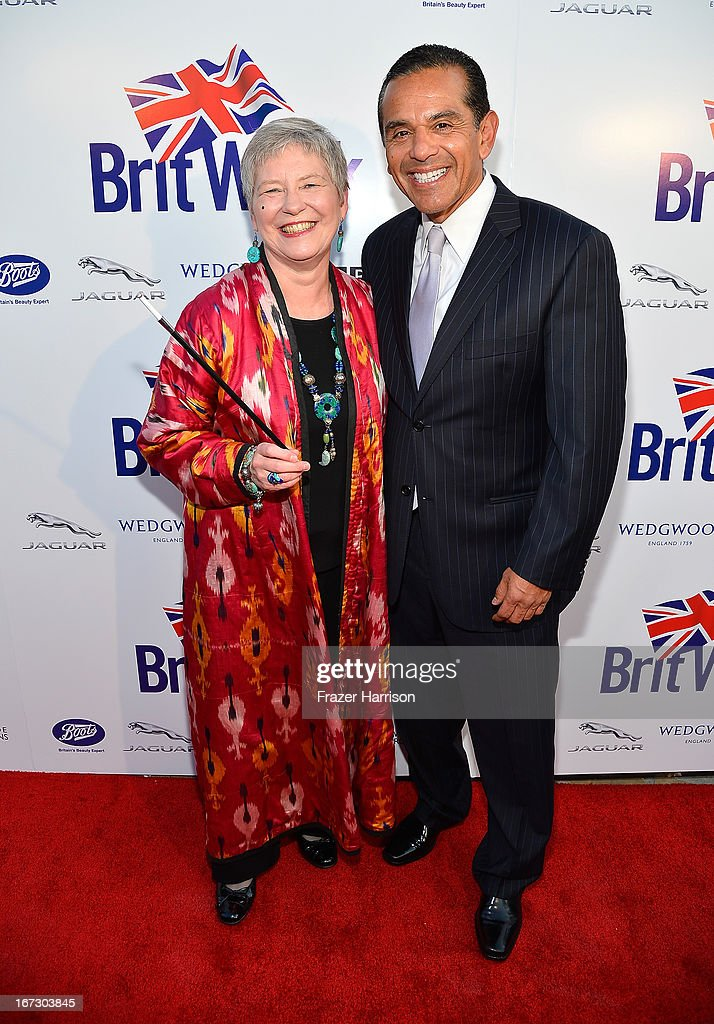 British Consul-General in Los Angeles Dame Barbara Hay (L) and Mayor of Los Angeles <a gi-track='captionPersonalityLinkClicked' href=/galleries/search?phrase=Antonio+Villaraigosa&family=editorial&specificpeople=178925 ng-click='$event.stopPropagation()'>Antonio Villaraigosa</a> attend the launch of the Seventh Annual BritWeek Festival 'A Salute To Old Hollywood' on April 23, 2013 in Los Angeles, California.