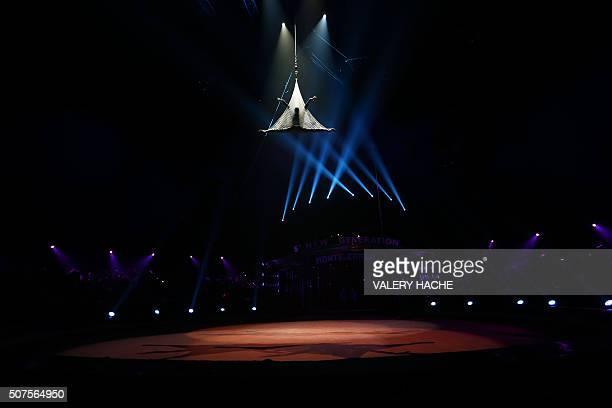British contortionist Beau Sargent performs during the 5th New Generation circus competition for young artists in Monaco on January 30 2016 / AFP /...