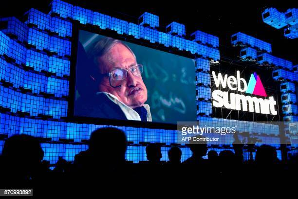 British cosmologist Stephen Hawking delivers a video message during the opening ceremony of the 2017 Web Summit in Lisbon on November 6 2017 Europe's...