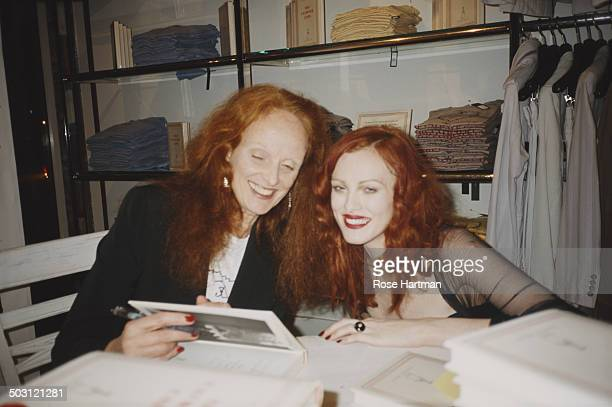 British creative director of American Vogue magazine Grace Coddington and model Karen Elson attend a book launch party hosted by Marc Jacobs and...