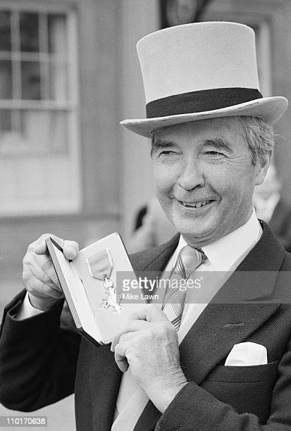 British crime writer and former jockey Dick Francis receives an OBE London 20th March 1984