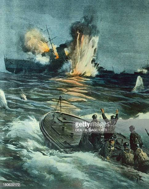 British cruiser sunk by an Italian MAS June 1 194 By Achille Beltrame illustration from La Domenica del Corriere