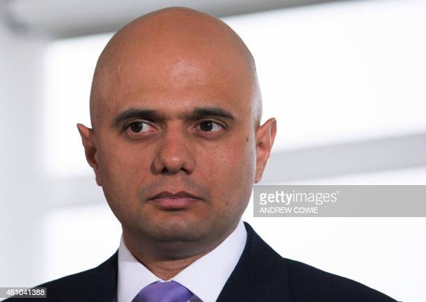 British Culture Secretary Sajid Javid attend a Conservative Party press conference to present a their cost analysis of the opposition Labour party...