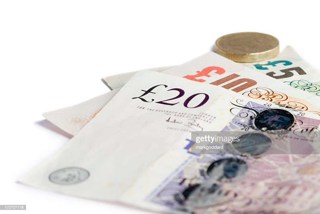 British currency in different denominations of note and coin