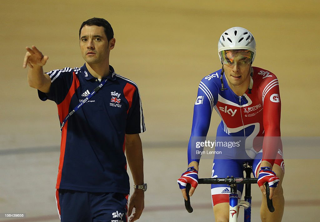 British Cycling Coach <a gi-track='captionPersonalityLinkClicked' href=/galleries/search?phrase=Chris+Newton&family=editorial&specificpeople=802639 ng-click='$event.stopPropagation()'>Chris Newton</a> (l) chats to John Dibbon during training for the UCI Track Cycling World Cup at the Sir Chris Hoy Velodrome on November 15, 2012 in Glasgow, Scotland.