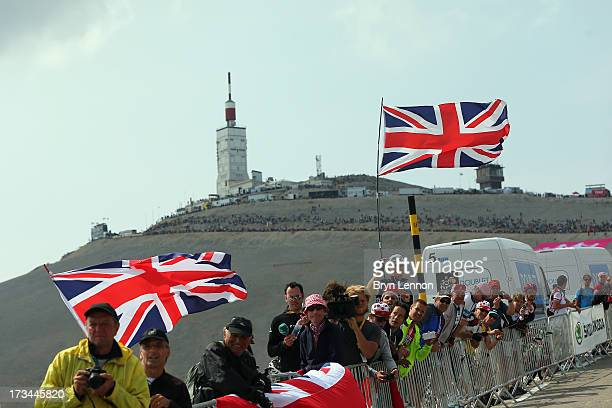 British cycling fans line the slopes of Mont Ventoux during stage fifteen of the 2013 Tour de France a 2425KM road stage from Givors to Mont Ventoux...