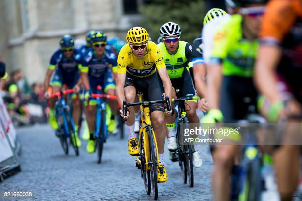 British cyclist Chris Froome of Team Sky competes in the 82nd edition of the 'Natourcriterium Aalst' cycling race in Aalst on July 24 2017 The...