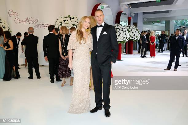 British cyclist Christopher Froome and his wife Michelle Cound arrive for the Rose Ball at the MonteCarlo Sporting Club in Monaco during the 69th...