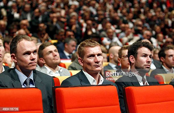 British cyclist Christopher Froome German cyclist Andre Greipel and British cyclist Mark Cavendish attend the presentation of the Tour de France 2016...