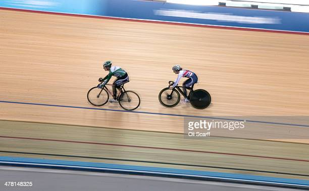British cyclist Laura Trott rides in the Velodrome at the Lee Valley Velopark formerly the cycling venue for the London 2012 Olympic Games on March...