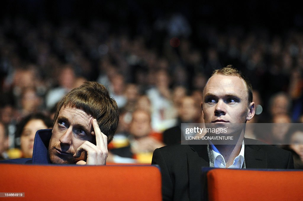 British cyclists Bradley Wiggins (L) and Chris Froome attend the unveiling of the 2013 cycling classic Tour de France route during a press conference on October 24, 2012 in Paris. The 100th edition of the Tour will take place from June 29 to July 21 and will start in Corsica for the first time in its history.
