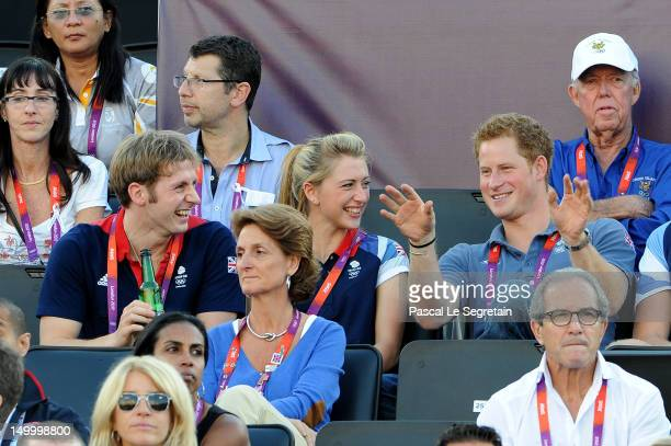 British cyclists Jason Kenny and Laura Trott watch Beach Volleyball with Prince Harry on Day 12 of the London 2012 Olympic Games at Horse Guards...