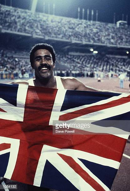 British decathlete Daley Thompson celebrates winning the gold medal at the European Championships in Athens 8th September 1982