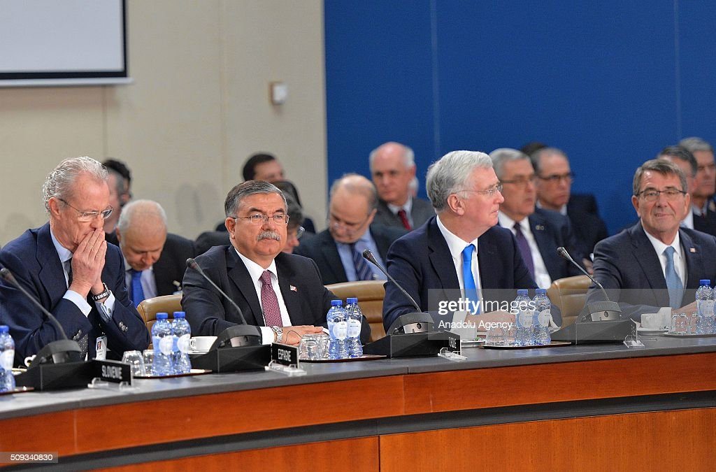 British Defence minister Michael Fallon (R-2), US Defense Secretary Ashton Carter (R), Turkish Defense Minister Ismet Yilmaz (L-2) and Spanish Defense Minister Pedro Morenes Eulate (L) attend the NATO Defence Ministers meeting at the NATO headquarter in Brussels, Belgium on February 10, 2016.