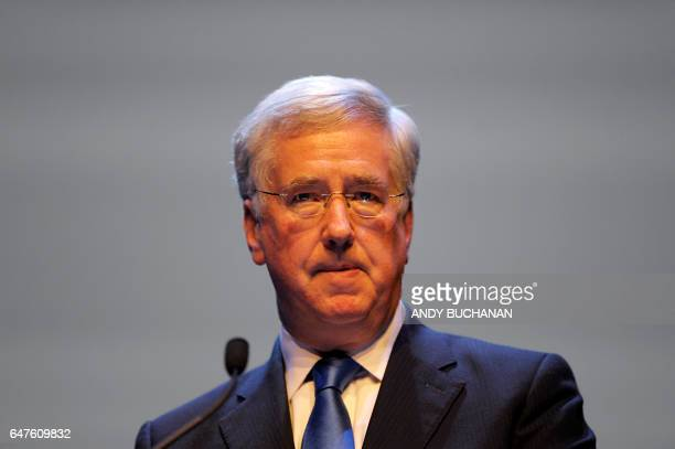 British Defence Secretary Michael Fallon addresses the 2017 Scottish Conservatives Spring Conference at the Clyde Auditorium in Glasgow on March 3...