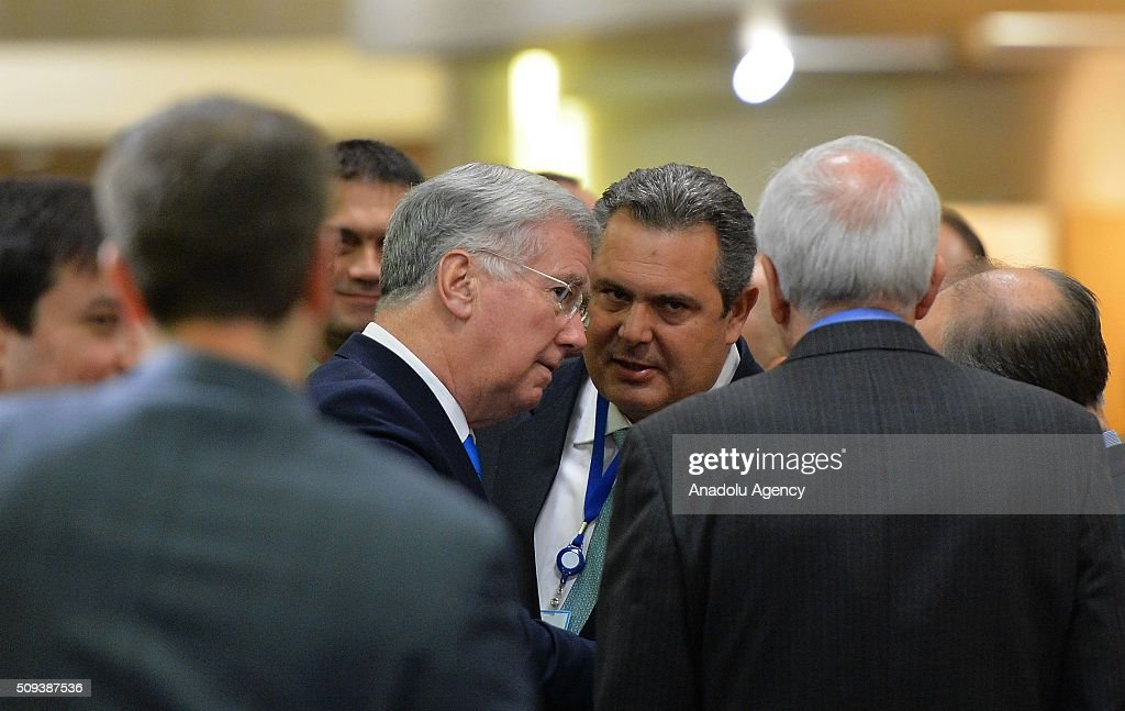 British Defence secretary Michael Fallon (center left) and Greek Defence Minister Panos Kammenos attend the NATO Defense Ministers meeting at the NATO headquarters in Brussels, Belgium on February 10, 2016.