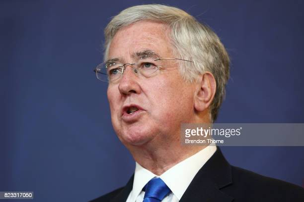 British Defense Secretary Michael Fallon attends a press conference on July 27 2017 in Sydney Australia The British Foreign Secretary and former...