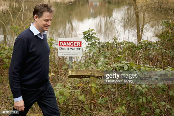 British Deputy Prime Minister and Leader of the Liberal Democrat Party Nick Clegg visits a hedgehog homebuilding project at Parkridge Wildlife Centre...