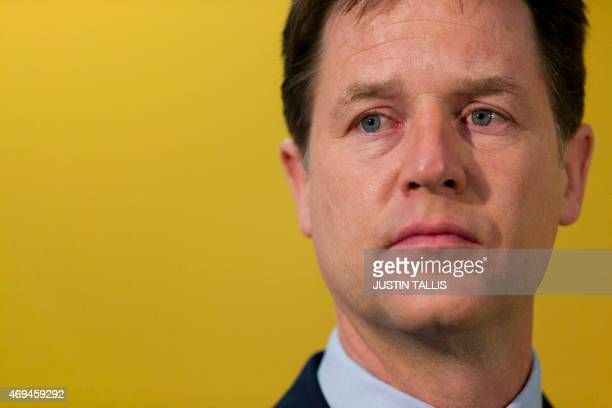 British Deputy Prime Minister and leader of the Liberal Democratic Party Nick Clegg outlines outlines Liberal Democratic Party's manifesto...
