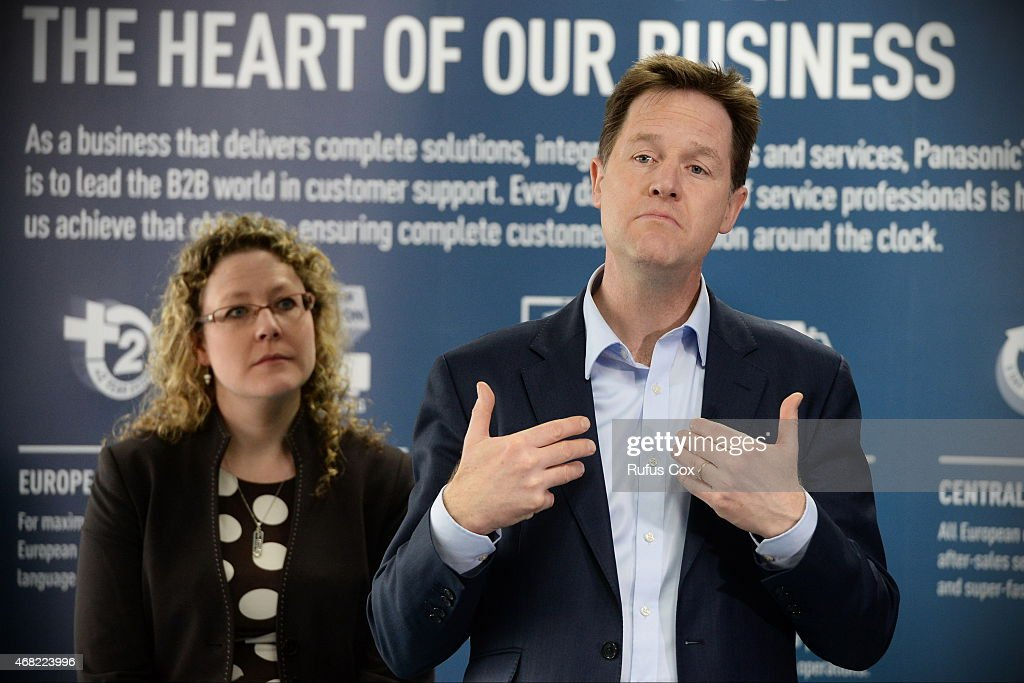 British Deputy Prime Minister and Liberal Democrat Party leader Nick Clegg takes part in a QA session with staff at Cardiff Panasonic manufacturing...
