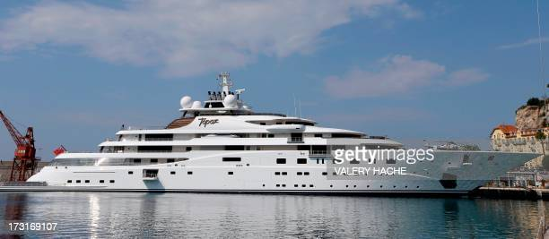 British designed and German made luxury motor yacht 'Topaz' is docked on July 9 2013 in Nice French riviera The 147 metres lenght vessel was...