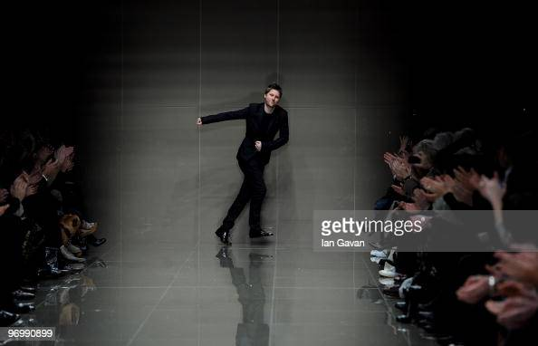 British Designer Christopher Bailey at the end of his show during the Burberry Prorsum LFW Autumn/Winter 2010 Women�s wear show at the Parade Ground...